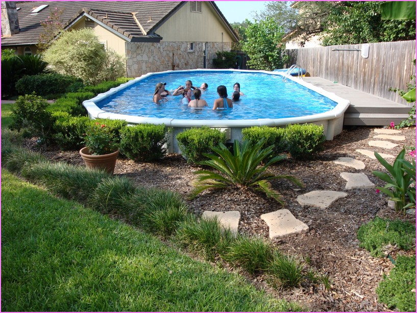 Landscaping Ideas For Backyard With Above Ground Pool : Above Ground Pool Landscaping Image Of Landscape Ideas For Backyard