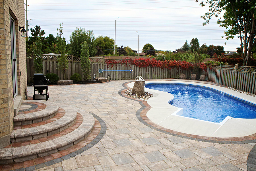 Image gallery inground pool landscaping ideas for Garden designs around pools