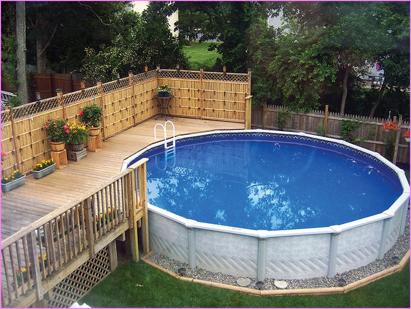 Above ground wood pool photo design plan