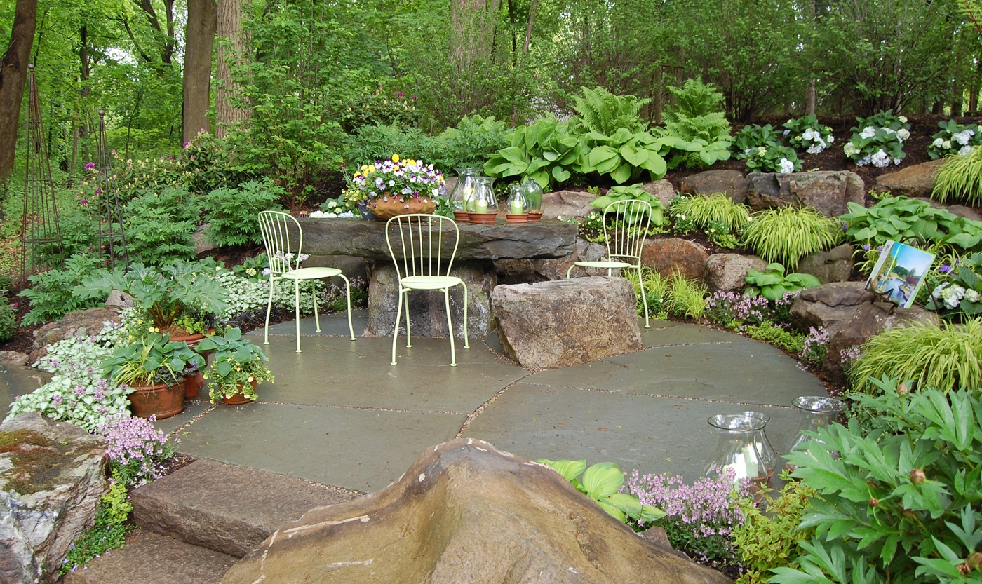 Rock garden designs native garden design intended for rock for Garden designs with patio