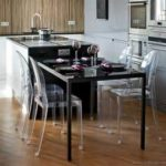 Black Kitchen Island Completed By Back Chairs 5