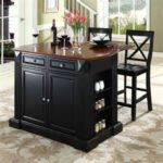 Black Kitchen Island Completed By Back Chairs 6