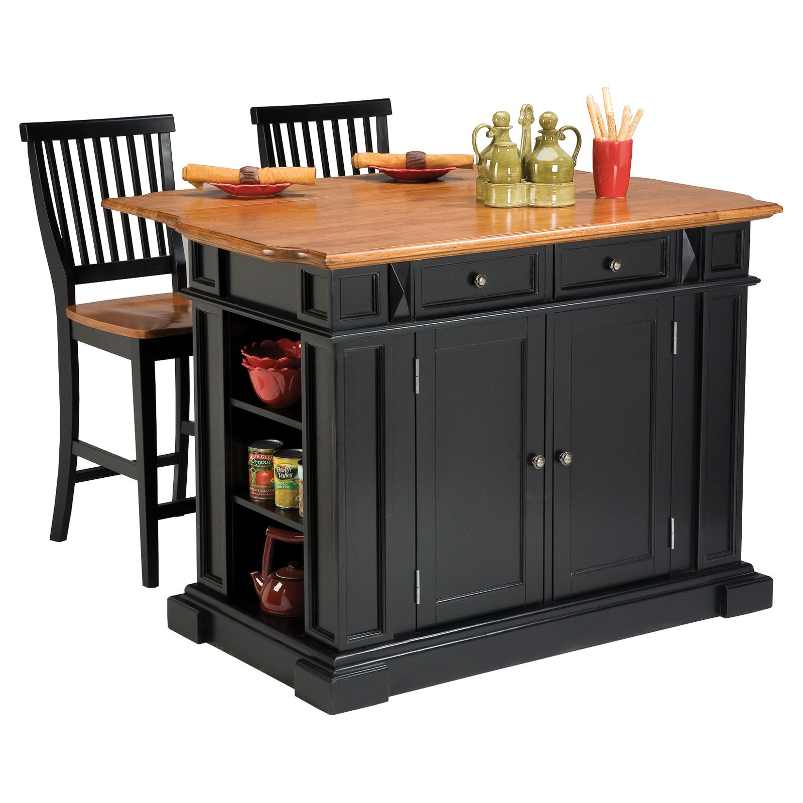 Portable Bar Island : The attractive black kitchen island completed by back