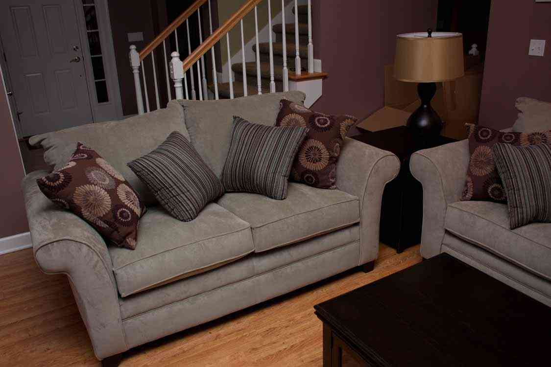 Attractive small living room furniture bee home plan for Large couch small living room
