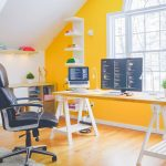 Beautiful Home Office Color Ideas Yellow