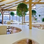Work Office With Beautiful Greenery Trees